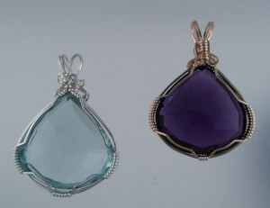 Faceted Aquamarine and Amethyst; simply wrapped;simply beautiful.