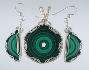 When the dealer dropped and broke one of my Malachite slices, I immediately thought of earrings to go with the bullseye pendant.