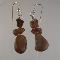 Brown Lake Superior Agate Earrings