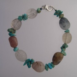 Fox Turquoise and Rutilated Quartz Bracelet