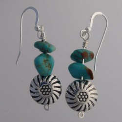 Fox Turquoise Nugget Earrings