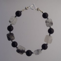 Rutilated Quartz and Black Onyx Bracelet
