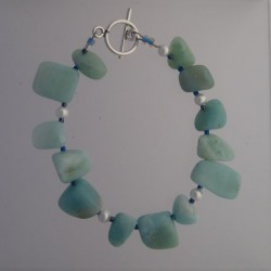 Amazonite and Swarovski pearl Bracelet