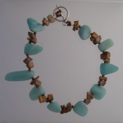 Amazonite Nuggets and Picture Jasper Chips Bracelet
