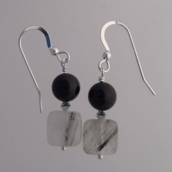 Rutilated Quartz and Black Onyx Earrings