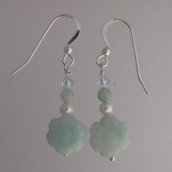 Amazonite Flower with Pearl and Crystal Earrings
