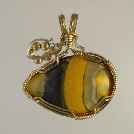 Bee jewelry of bumblebee jasper fashioned of gold fill wire buzzing bee bumblebee pendant aloadofball Gallery