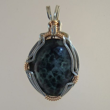 Michigan greenstone jewelry wire wrapped in precious metals mysterious night michigan greenstone pendant aloadofball Choice Image