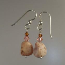 Pink Prehnite Earrings with Swarovski Crystals