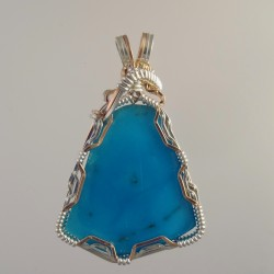 Crystal Blue Morenci Turquoise Wire-Wrapped Pendant