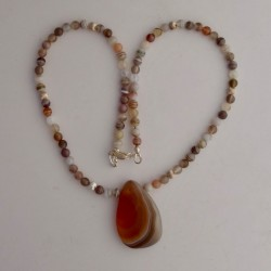 Dainty Botswana Agate Necklace with Pendant