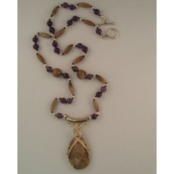 Petoskey/Amethyst Necklace