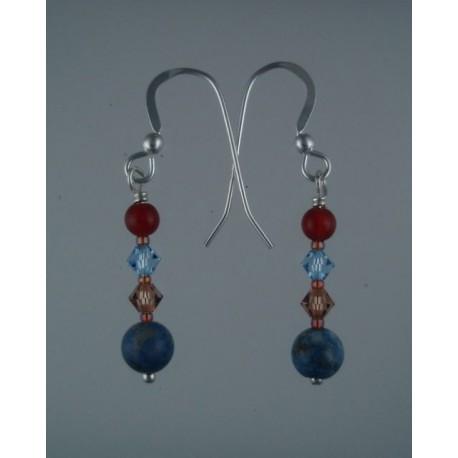 Denim Lapis Red Agate Earrings
